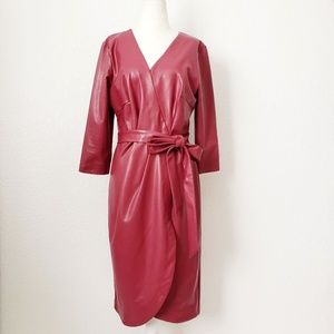 Eloquii Faux Leather Burgundy Red Pu Wrap Dress